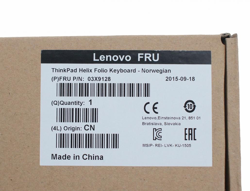 联想Lenovo ThinkPad Helix 2 2Gen Folio Keyboard Leather Case 03X9128 NR 挪威文