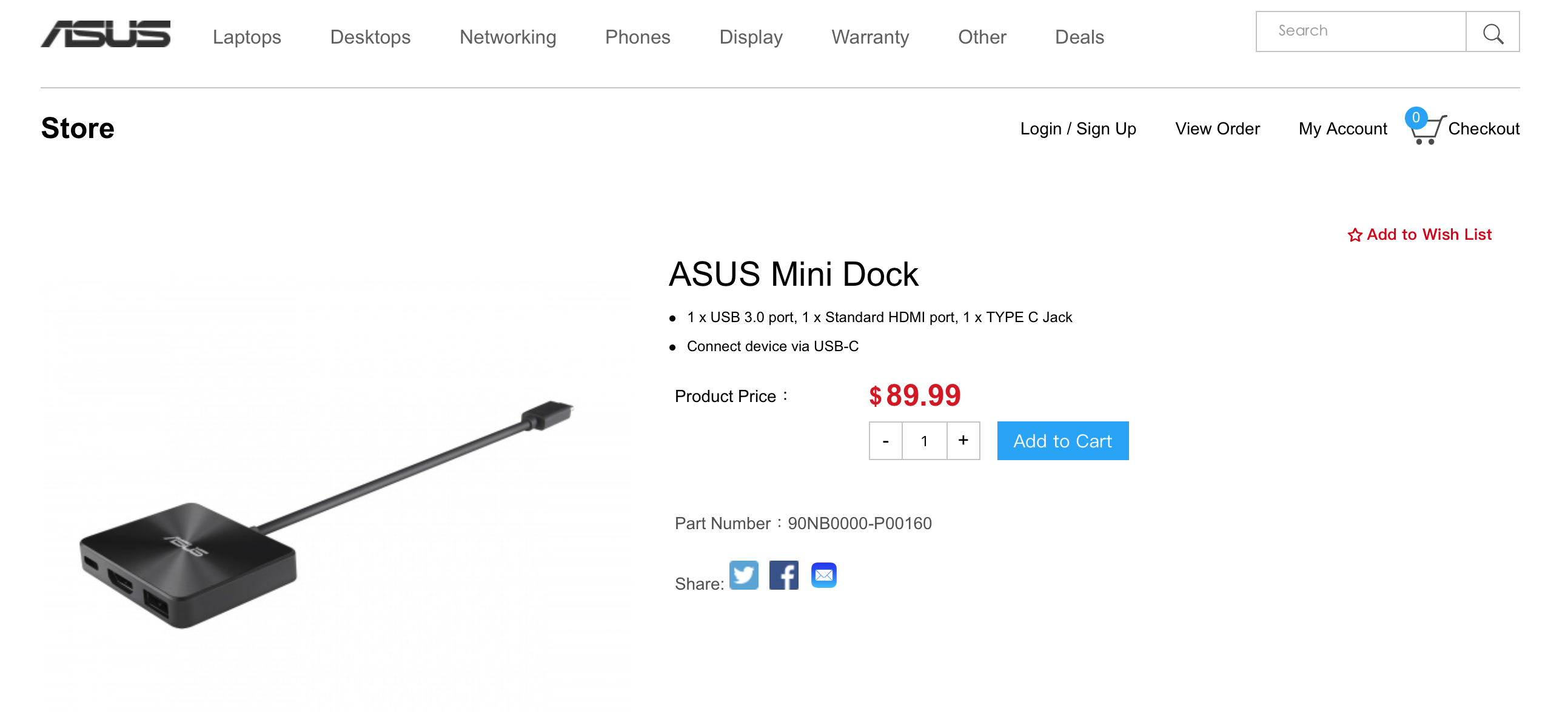 华硕Asus Mini Dock USB-C便携式扩展坞type-c转HDMI USB3.0 PD供电C口设备外接显示器